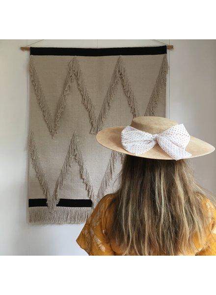 Siena - zomer hoed / PADUA hoed  - kind & dames - beige polkadot strik