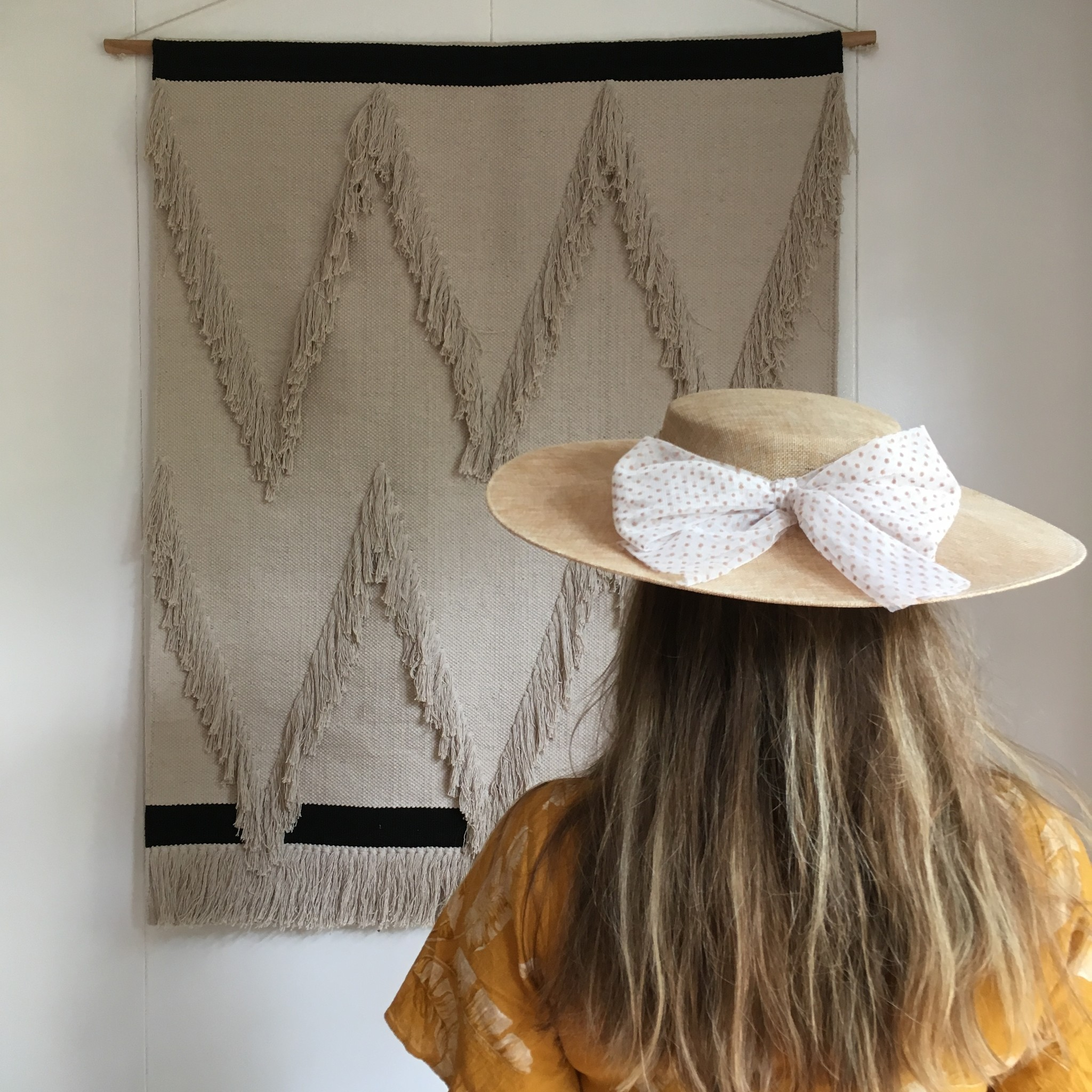 Siena - zomer hoed / PADUA hoed  - kind & dames -beige polkadot strik