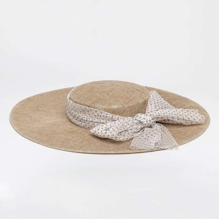 Siena -summer hat / PADUA  hat  - child & ladies - beige polkadot bow