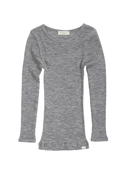 Minimalisma - ATLANTIC long sleeve wool - fine rib - 100% merino - grey melange - 2y to 14y