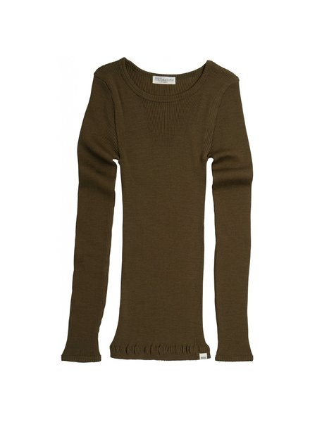 Minimalisma - ATLANTIC long sleeve wool - fine rib - 100% merino - moss - 2y to 14y