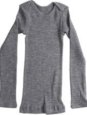 Minimalisma - wollen baby shirt ASPEN - fijne rib - 100% merino - gemeleerd grijs - 0 tm 24 maanden