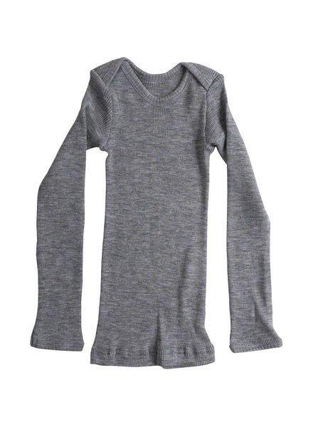 Minimalisma - ASPEN baby shirt wool - fine rib - 100% merino - grey melange - 0 to 24 months