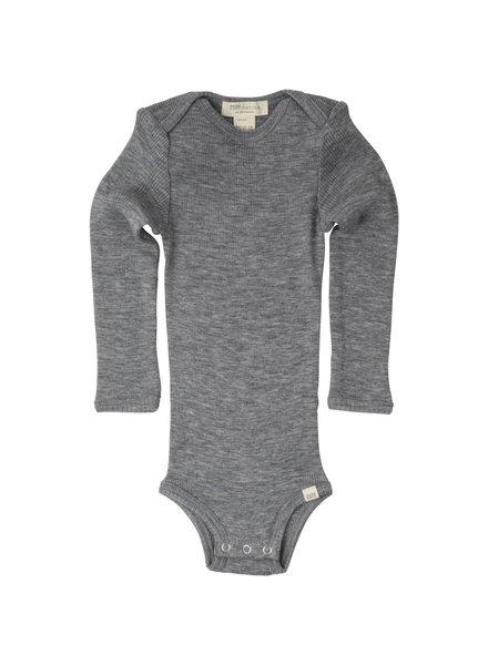 Minimalisma ALASKA woolen baby body- 100% merino - fine rib - grey melange -  1m to 3 years