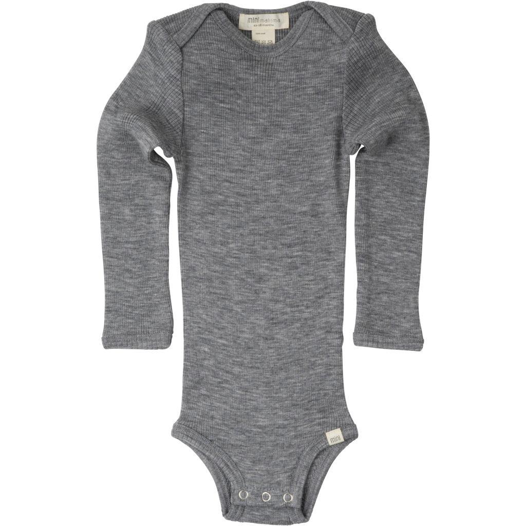 Minimalisma - ALASKA woolen baby body- 100% merino - fine rib - grey melange -  1m to 3 years