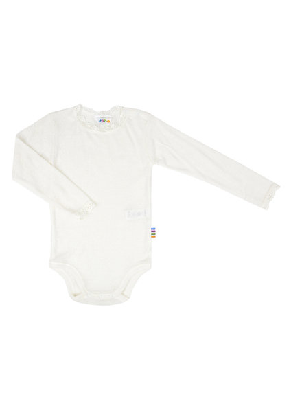 JOHA woolen baby body ajour - 85% merino wool/ 15% silk - natural - 50 to 90