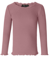 Rosemunde silk girls shirt with lace LIZ - 55% silk/ 45% cotton - dusty rose - 4 to 14 years