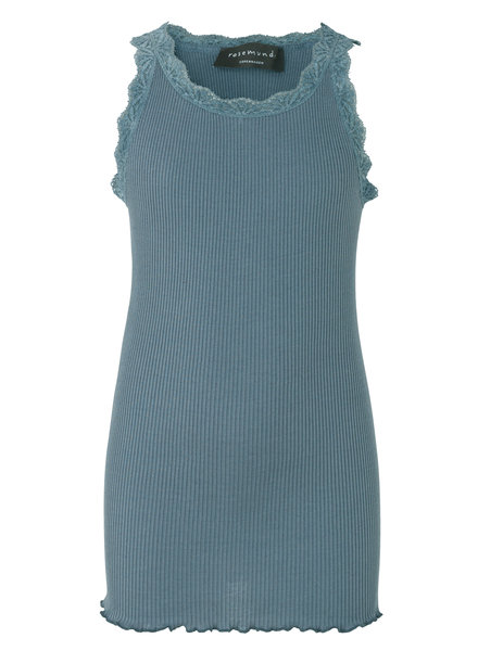 Rosemunde silk girls top with lace LOU - 55% silk/ 45% cotton - stormy weather - 4 to 14 years