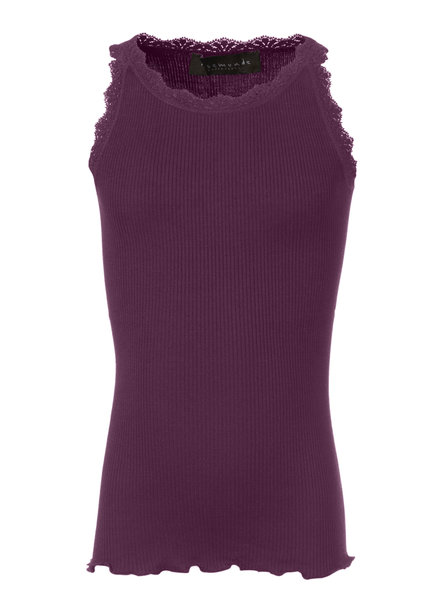 Rosemunde silk girls top with lace LOU - 55% silk/ 45% cotton - potent purple - 4 to 14 years