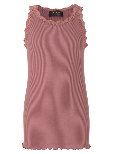 Rosemunde silk girls top with lace LOU - 55% silk/ 45% cotton - dusty rose - 4 to 14 years