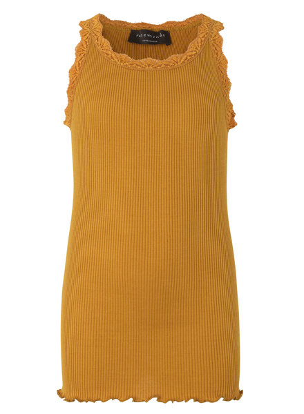 Rosemunde silk girls top with lace LOU - 55% silk/ 45% cotton - golden mustard - 4 to 14 years
