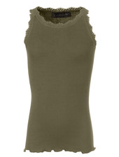 Rosemunde silk girls top with lace LOU - 55% silk/ 45% cotton - olive green - 4 to 14 years