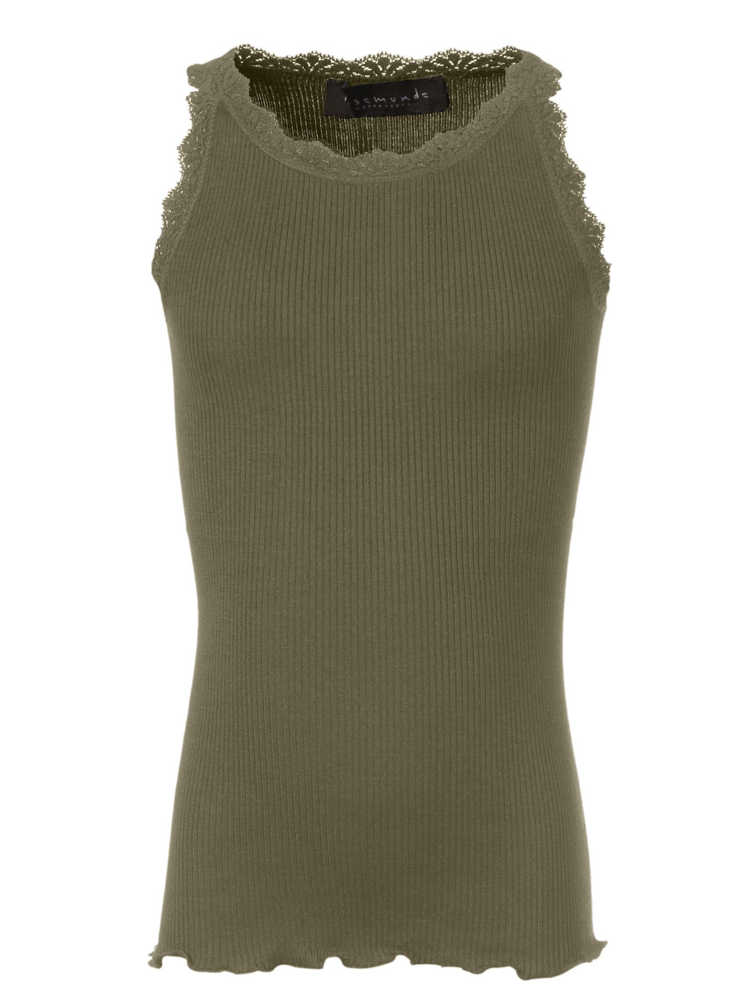 Rosemunde zijden meisjes top LOU - 55% zijde/ 45% katoen - olijf groen - 4 tm 14 jaar