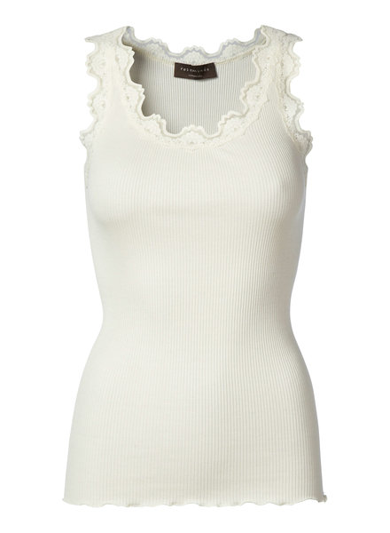 Rosemunde women top silk with lace BABETTE - 70% silk / 30% cotton - ivory white - S tm XL
