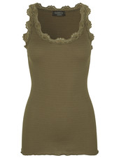 Rosemunde women top silk with lace BABETTE - 70% silk / 30% cotton -  olive green - S tm XL