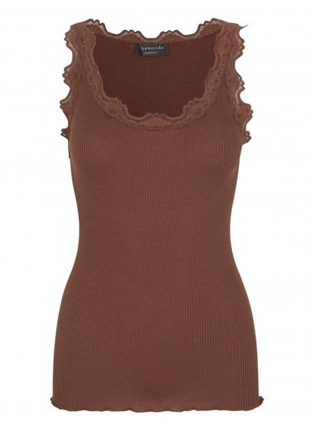 Rosemunde women top silk with lace BABETTE - 70% silk / 30% cotton -  choco brown - S tm XL