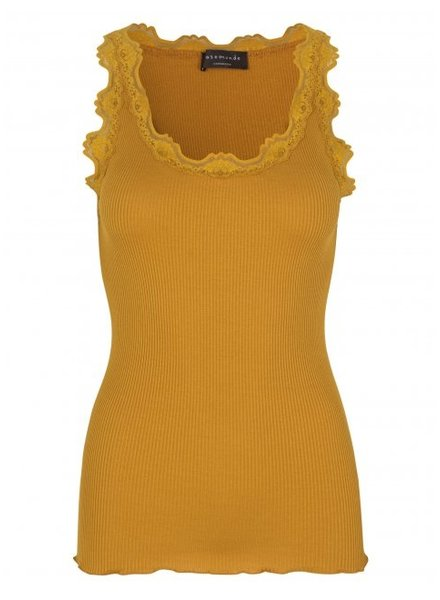 Rosemunde women top silk with lace BABETTE - 70% silk / 30% cotton - golden mustard - S tm XL
