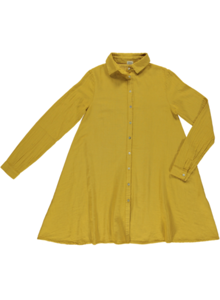 Poudre Organic ladies shirt dress CHAI - 100% organic cotton gauze - honey yellow