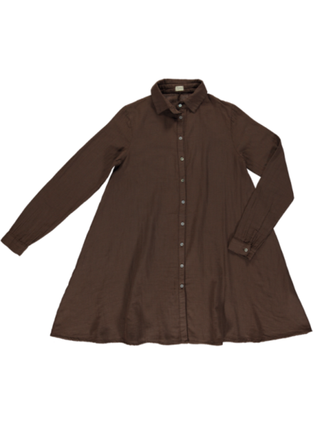 Poudre Organic ladies shirt dress CHAI - 100% organic cotton gauze - brown coffee