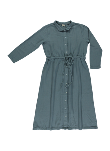 Poudre Organic women dress ANEMONE - 100% organic cotton gauze - storm blue