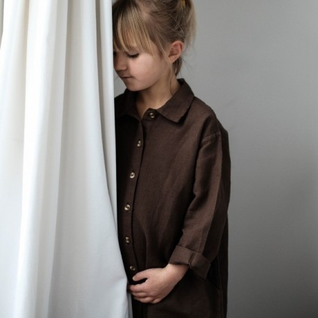 Poudre Organic girls shirt dress ANANAS - 52% linen / 48% organic cotton - brown carafe