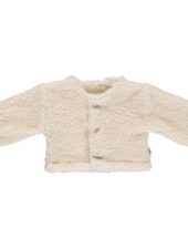 Poudre Organic teddy cardigan FIGUE - 70% organic cotton - white - 1 to 12 years