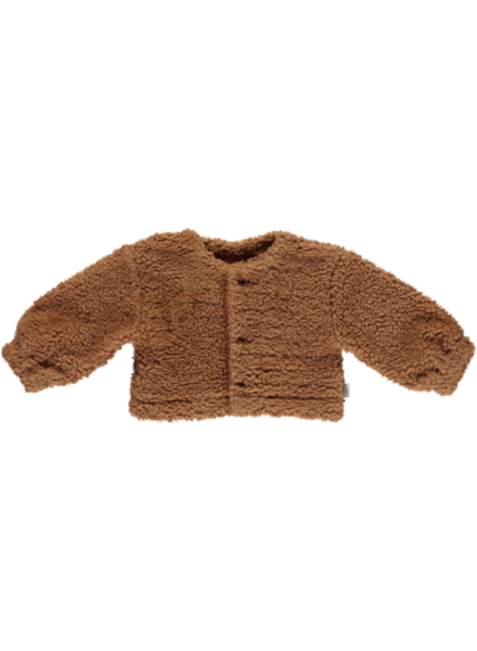 Poudre Organic teddy cardigan FIGUE - 70% organic cotton - brown sugar - 1 to 12 years
