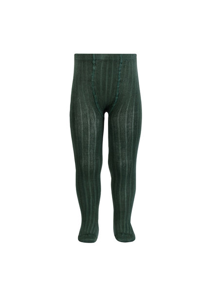 Condor cotton tights - wide-rib basic - pine green - 50 to 180 cm