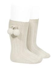 Condor knee socks with pompom - linen beige - size 00 to 35