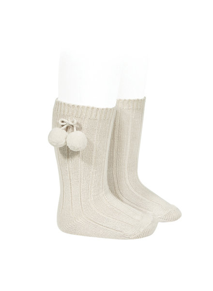 Condor knee socks with pompom - linen beige - size 00 to 35