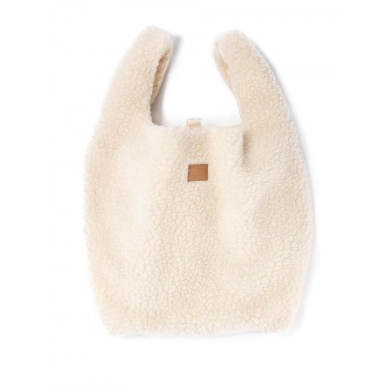 Alwero wollen SHOPPER - 100% merino teddy pile - naturel wit