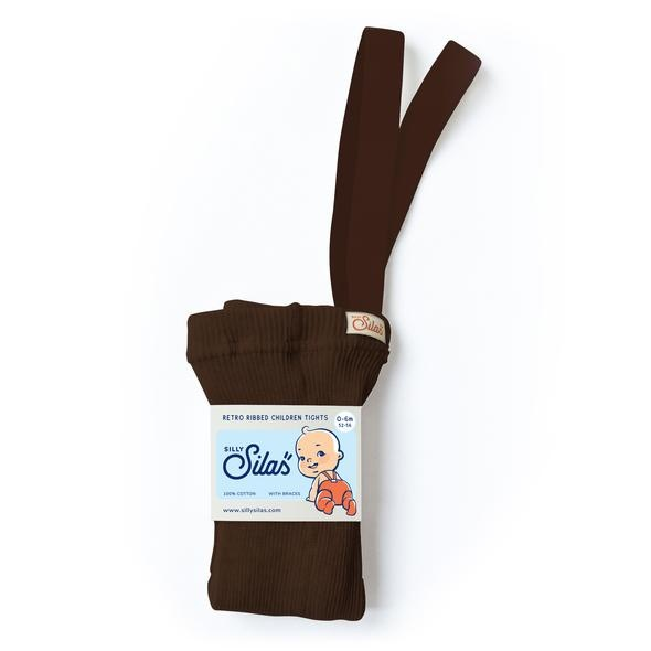 Silly Silas tights with braces - 100% cotton - chocolate brown - 0 m to 3 years