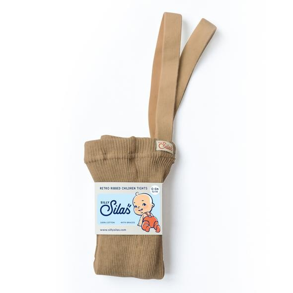 Silly Silas tights with braces - 100% cotton - light salmon brown - 0 m to 3 years