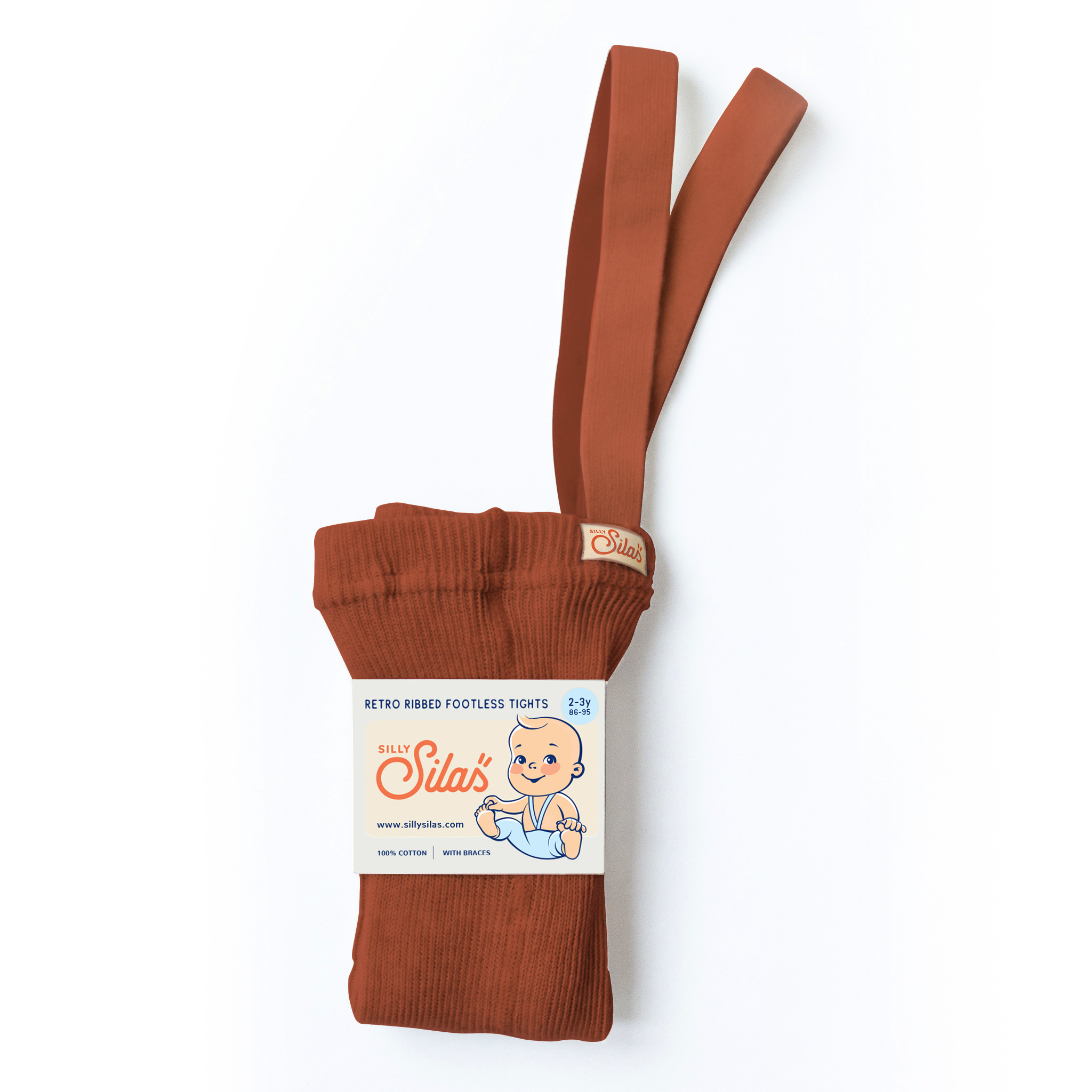 Silly Silas footless tights with braces - 100% cotton - cinnamon - 6 m to 4 years