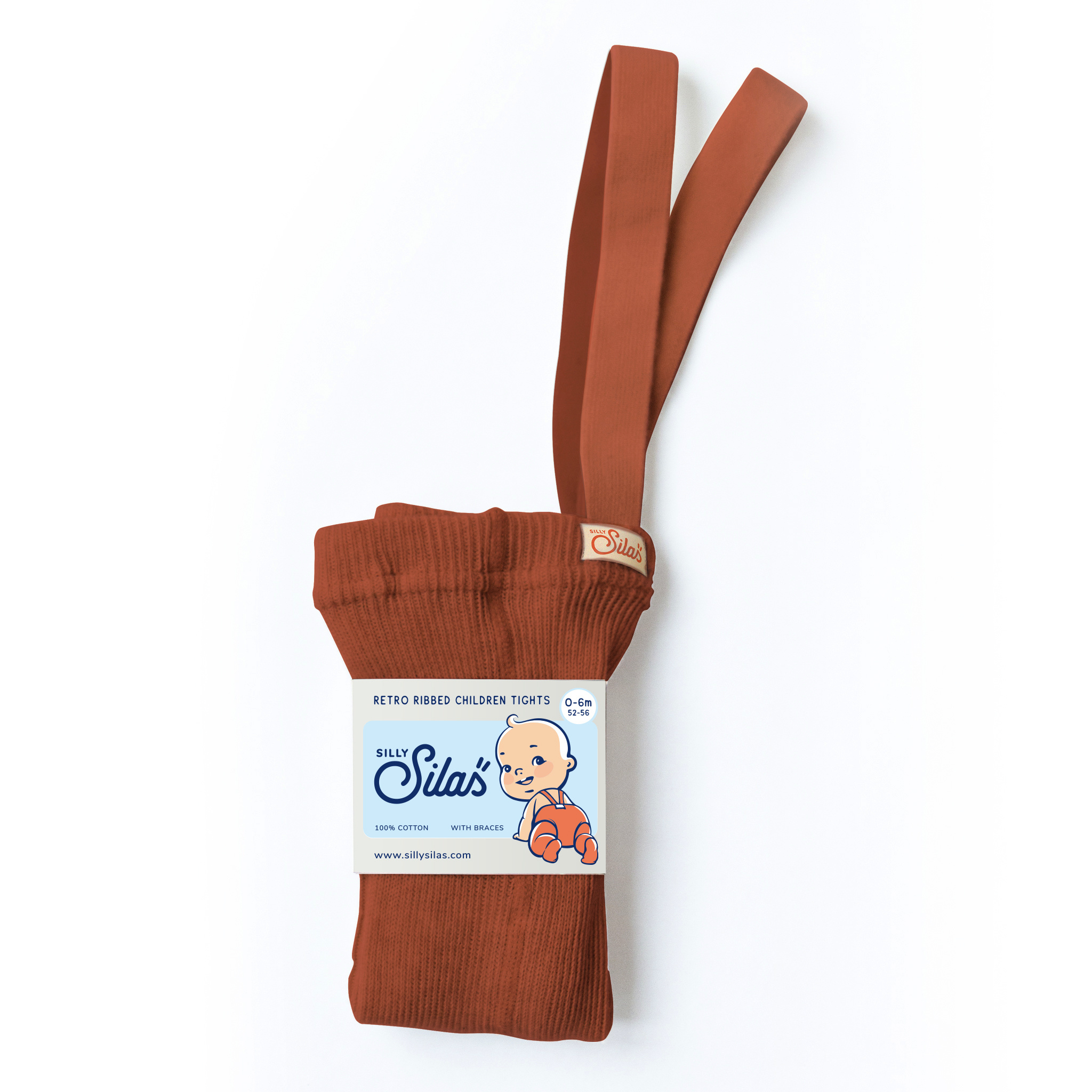 Silly Silas tights with braces - 100% cotton - cinnamon - 0 m to 3 years