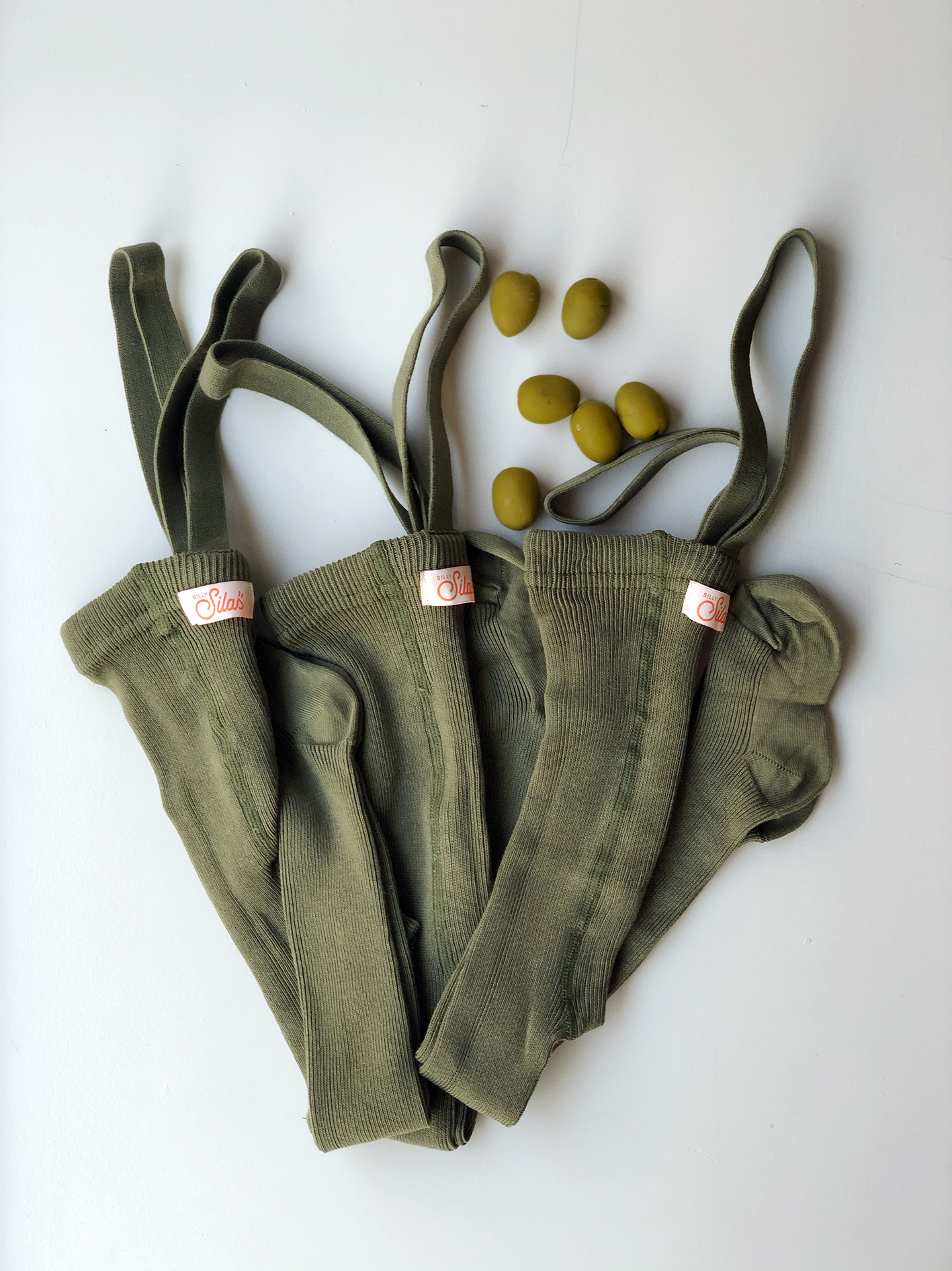 Silly Silas tights with braces - 100% cotton - olive - 0 m to 3 years