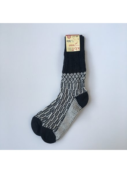 HIRSCH NATUR thick Norwegian woolen socks - 100% organic wool - anthracite / off white  - 36 to 43