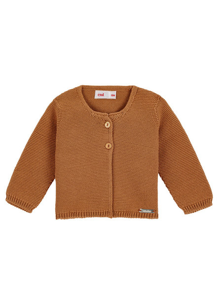 Condor knitted cardigan GARTER - 100% cotton - cinnamon - 3 m to 4 years