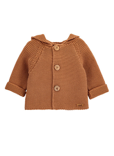 Condor knitted hood cardigan WOODY - 100% cotton - cinnamon - 3 m to 3 years