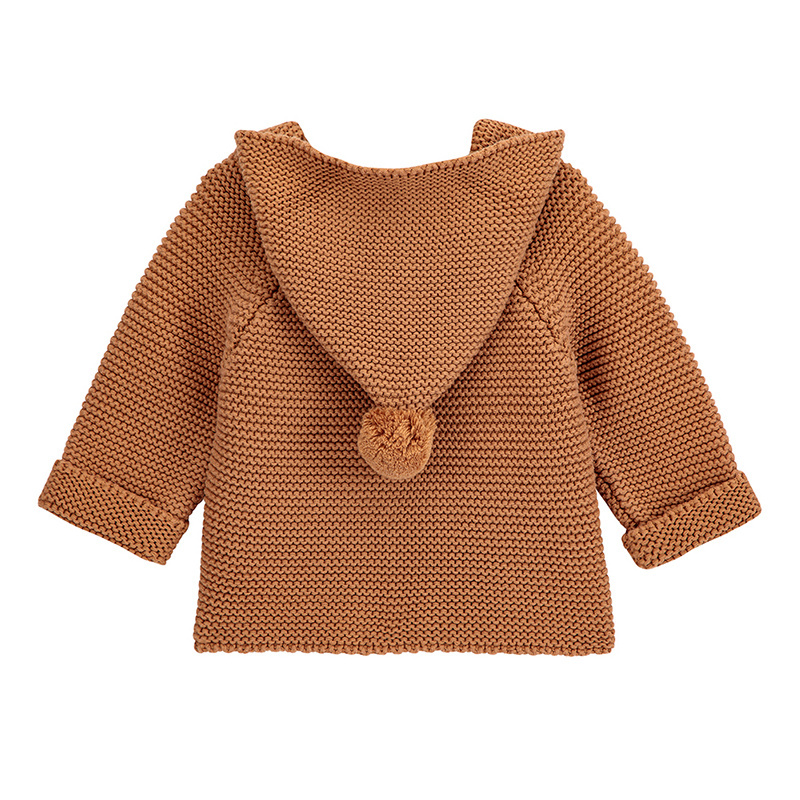 Condor knitted hood cardigan WOODY - 100% cotton - cinnamon - 3 m to 3 years