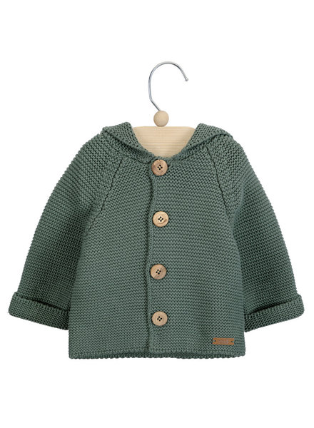 Condor knitted hood cardigan WOODY - 100% cotton - lichen