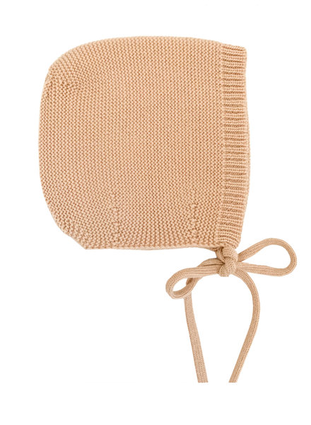 HVID woolen baby bow hat DOLLY - 100% merino wool - apricot - up to 3 months