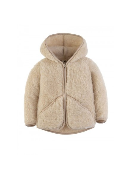 Alwero wool hooded jacket MODY - 100% merino teddy pile - beige - 80 to 122