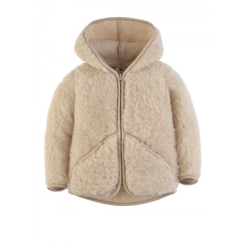 Alwero wollen capuchon jasje MODY - 100% merino teddy pile - beige - 80 tm 122