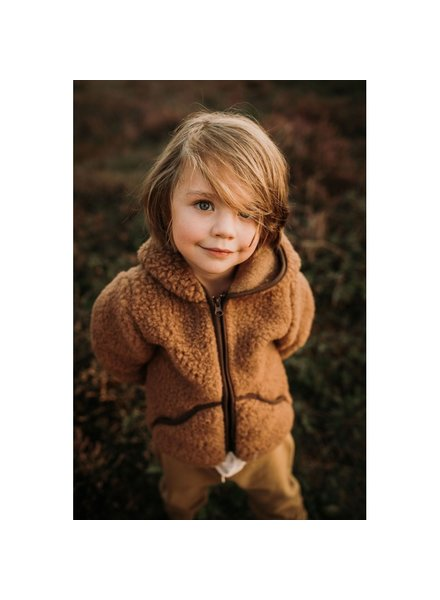 Alwero wool hooded jacket MODY - 100% merino teddy pile - brown - 80 to 122