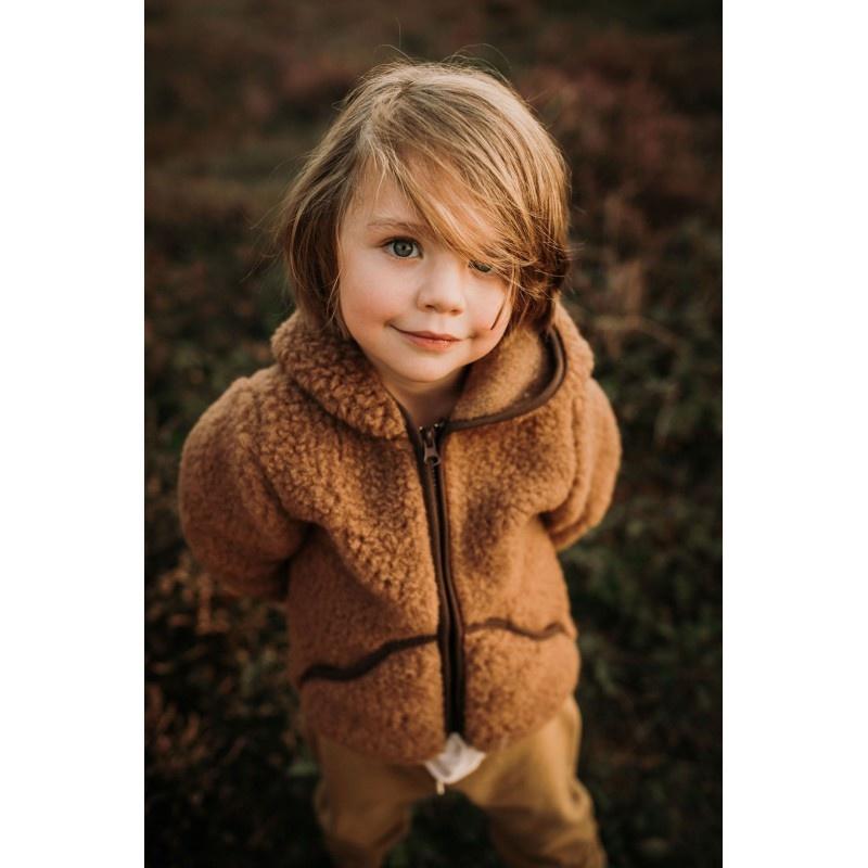 Alwero wool hooded jacket MODY - 100% merino teddy pile - brown - 80 to 122