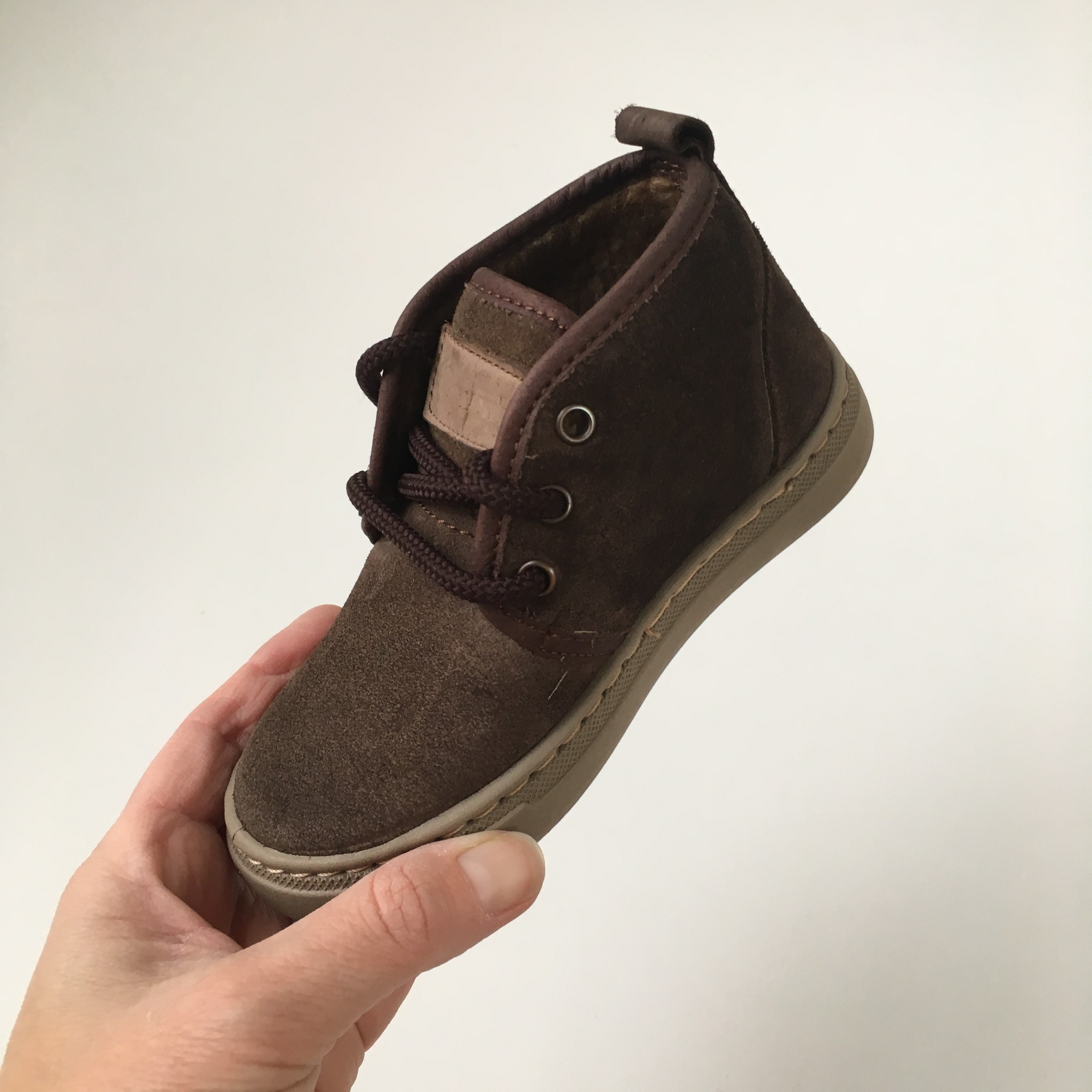 NATURAL WORLD suede ankle bootie wool lined ALIM - 100% natural rubber sole - brown - 25 to 38