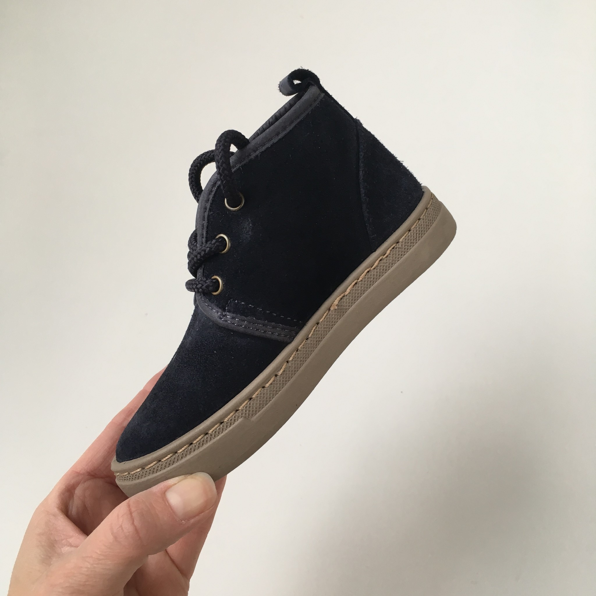 NATURAL WORLD suede ankle booties wool lined ALIM - 100% natural rubber sole - blue - 25 to 38