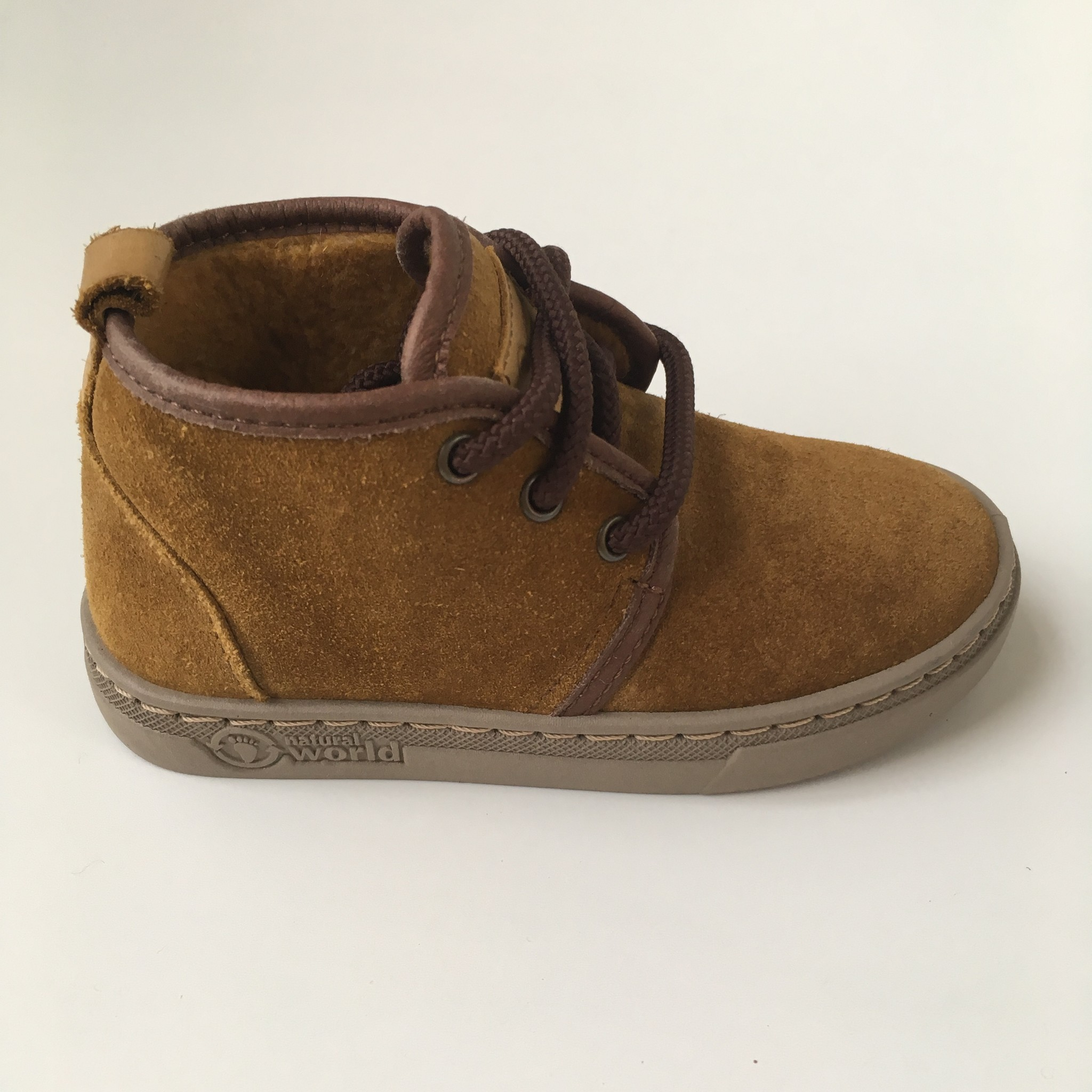 NATURAL WORLD suede ankle booties wool lined ALIM - 100% natural rubber sole - mustard - 25 to 38