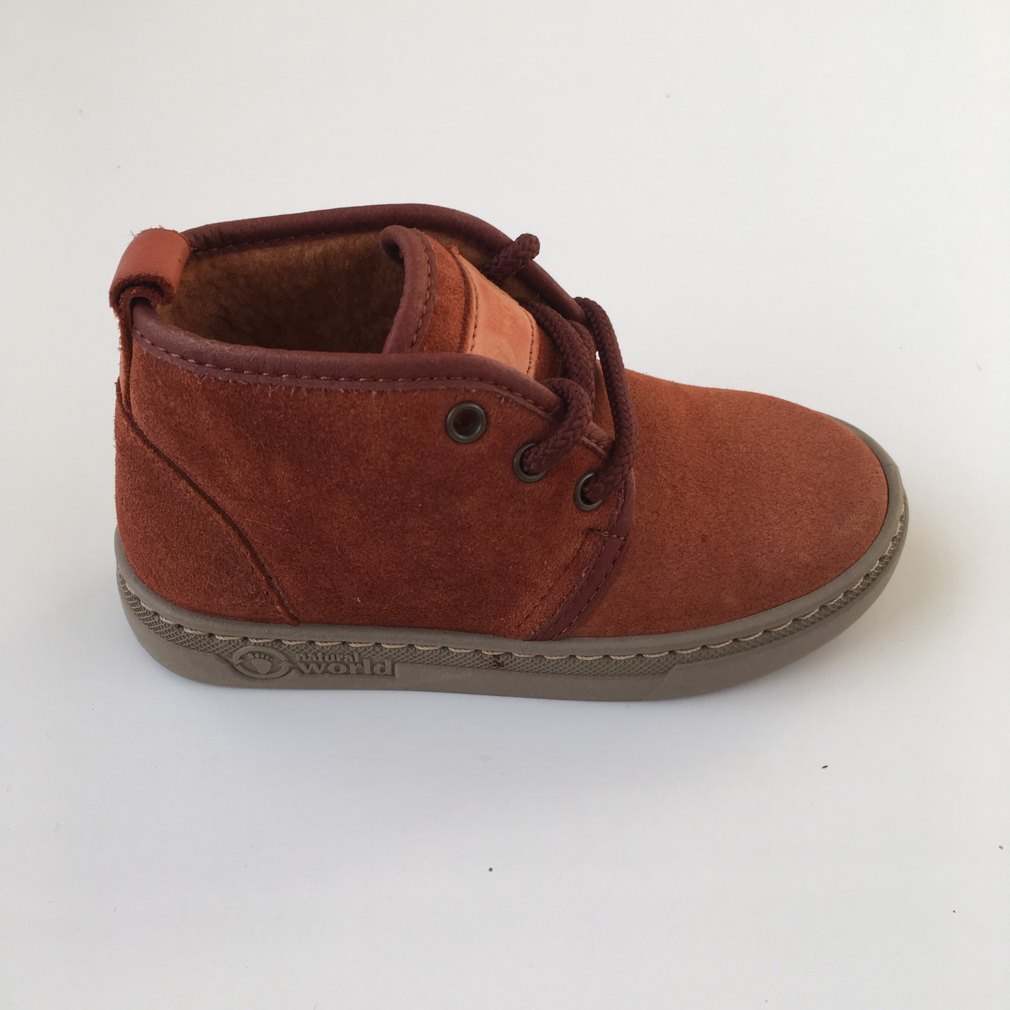 NATURAL WORLD suede ankle booties wool lined ALIM - 100% natural rubber sole - rusty orange - 25 to 38